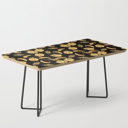 Gold Tropical Leaves Pattern Coffee Table