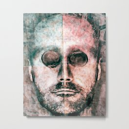 Cyborg Photo Manipulation Portrait Metal Print