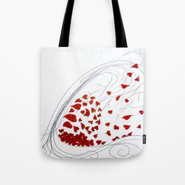 Wind Blown Tree of Hearts Tote Bag