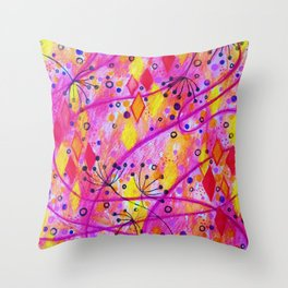 INTO THE FALL 2 - Whimsical Pink Purple Autumn Floral Watercolor Abstract Nature Pattern Fine Art  Throw Pillow