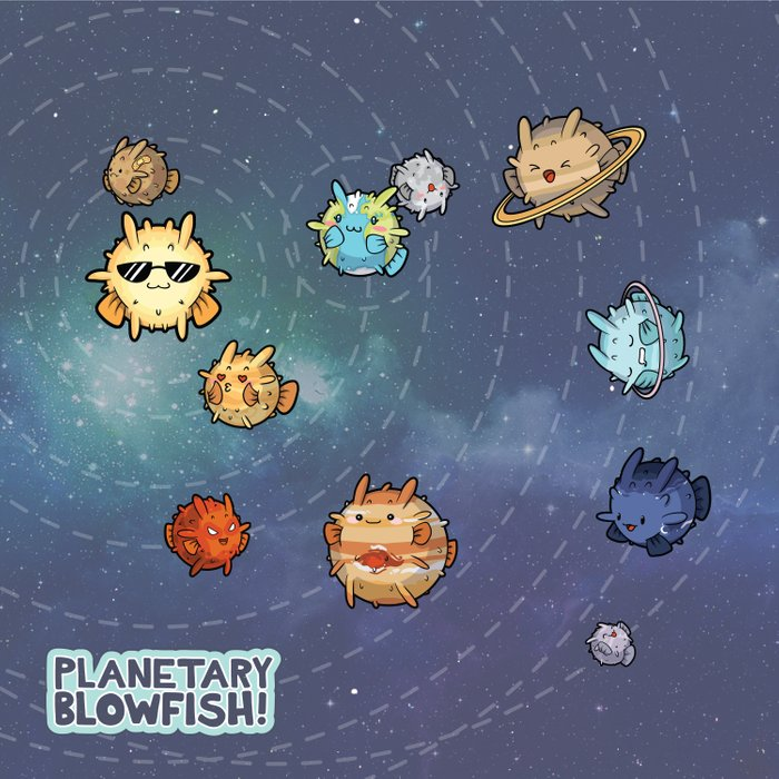 Planetary Blowfish Duvet Cover
