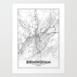 Minimal City Maps - Map Of Birmingham, Alabama, United States Art Print