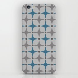 Mid Century Modern Star Pattern Grey and Blue iPhone Skin