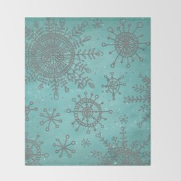 Blue and Silver Snowflakes Throw Blanket