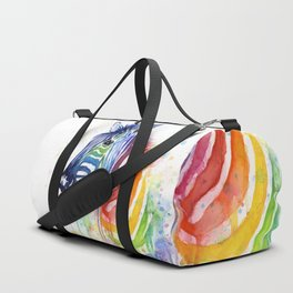 Zebra Watercolor Rainbow Animal Painting Ode to Fruit Stripes Duffle Bag