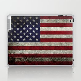 American Flag, Old Glory in dark worn grunge Laptop & iPad Skin