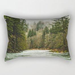 Wanderlust Forest River - Mountain Adventure in Foggy Woods Rectangular Pillow