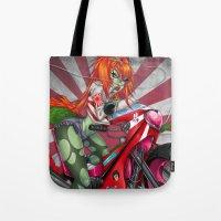 sriracha Tote Bags featuring Bosozoku Dragon Girl by Artetak