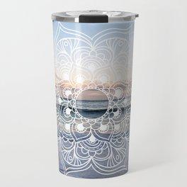 Flower shell mandala - shoreline Travel Mug