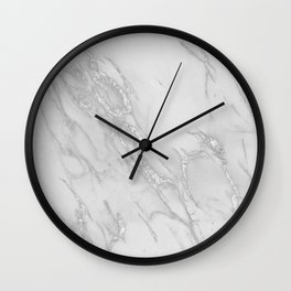 Marble Love Silver Metallic Wall Clock
