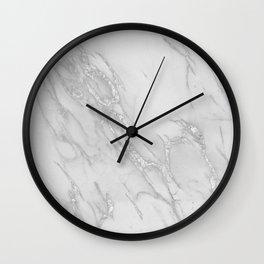 Marble Love Silver Metallic Wall Clock
