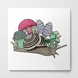 Snail with Mushrooms Metal Print