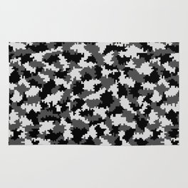 Camouflage Digital Black and White Rug