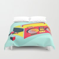 radio Duvet Covers featuring Radio Jam by Amy Wang