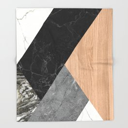 Marble and Wood Abstract Throw Blanket