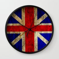 british flag Wall Clocks featuring British Flag by Jason Michael