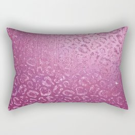 Pink Faux Foil Leopard Print Rectangular Pillow