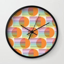 Tangerine Rainbow White Wall Clock