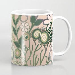 Detailed square of peach and green floral tangle Coffee Mug