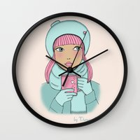 coffe Wall Clocks featuring Coffe time by Theresa Lue