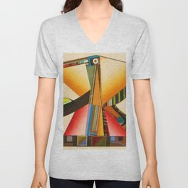 African American Masterpiece 'Janus' abstract landscape painting by E.J.Martin Unisex V-Neck