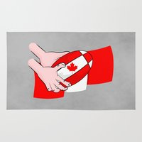 rugby Area & Throw Rugs featuring Canada Rugby Flag by mailboxdisco