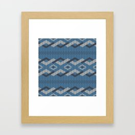 Knitty (Knitted Blue Zigzag Ornament) Framed Art Print