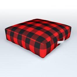 Classic Red and Black Buffalo Check Plaid Tartan Outdoor Floor Cushion