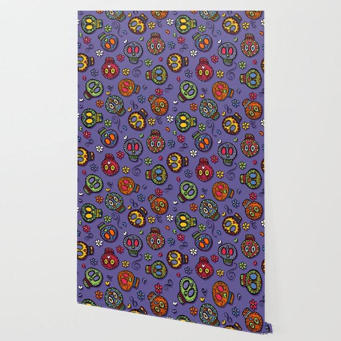 Sugar Skulls (on purple) - calavera, skull,  halloween, illustration Wallpaper