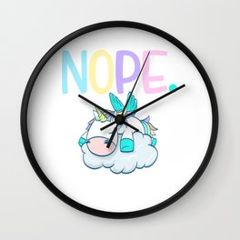 Colorful Rainbow Unicorn Pastel Color Lazy Nope Not Today Sleepy Sleeping Sleepless T-shirt Design Wall Clock