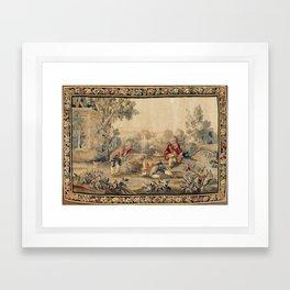 Aubusson  Antique French Tapestry Print Framed Art Print