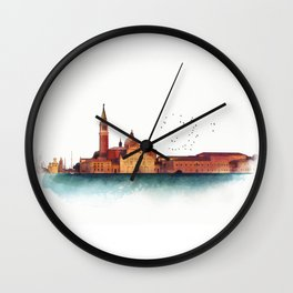 Soft watercolor sunset with views of San Giorgio island, Venice, Italy. Wall Clock
