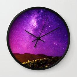 Purple Night Sky Universe Wall Clock