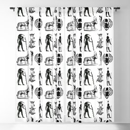 Ancient Egypt  Symbols in Black and White Pattern Blackout Curtain