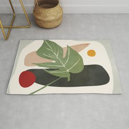 Abstract Monstera Leaf Rug