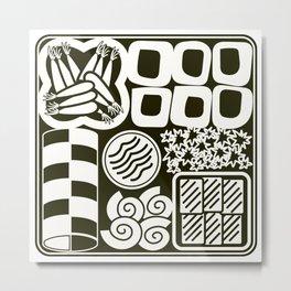 Jubako No2 Monochrome Metal Print