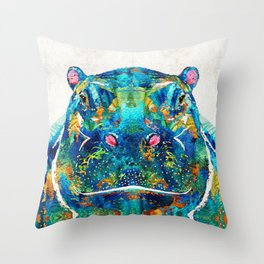 Hippopotamus Art - Happy Hippo - By Sharon Cummings Throw Pillow