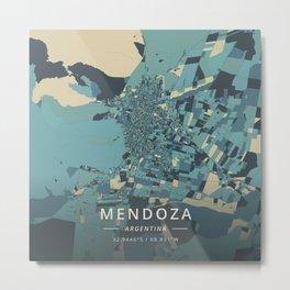 Mendoza, Argentina - Cream Blue Metal Print