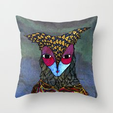 Owl-Girl Throw Pillow