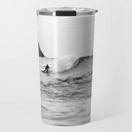 Black and White Surfer Print Travel Mug