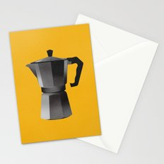 Classic Bialetti Coffee Maker Yellow Stationery Cards