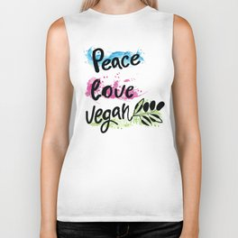 Peace love vegan Biker Tank