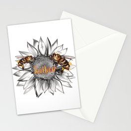 Sunflower with bees vector illustration Stationery Cards
