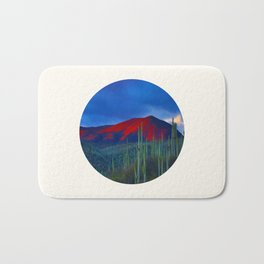 Mid Century Modern Round Circle Photo Red Mountain Sunset With Field of Green Cactus Bath Mat
