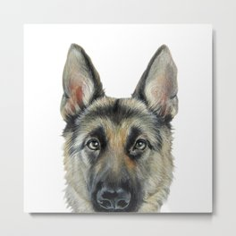 Shepard Dog illustration original painting print Metal Print