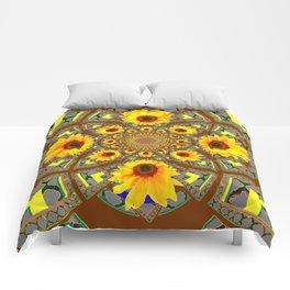 OPTICAL ART BROWN-GREY SUNFLOWERS Comforters