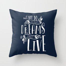 Dwell on Dreams - Dark Blue Throw Pillow