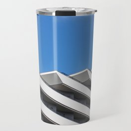 mediterraninan modernism - white concrete architecture and blue sky Travel Mug