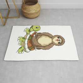 Cute I'm Living My Best Life Sloth & Turtle Animal Rug