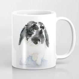 Black and White Bunny Rabbit Watercolor Coffee Mug